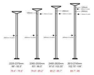 Ridgeyard adjust height to ceiling
